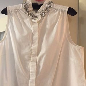 Button up sleeveless shirt Rhinestone neck
